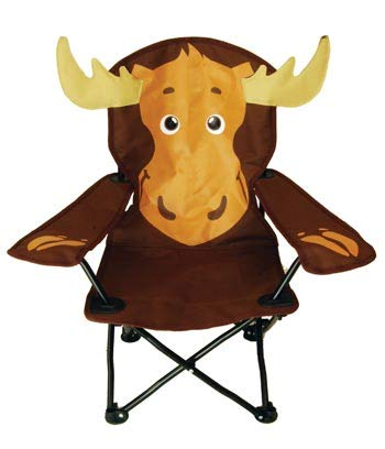 - Rustic Axentz Ages 2-6 Kids Children Folding Portable Camping Chair, Drink Holder, Carry Bag, 125lbs, Moose, Brown, (Meets Children's Furniture Safety Standards)