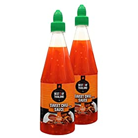Sweet Chili Sauce (2 Pack) Real Asian Brewed – No MSG – Kosher Certified – Sweet & Spicy Dressing for Barbeque Chicken, Grilled Food, Fish, Meat – Convenient Bottle Size: 23.6 fl-oz – Best of Thailand