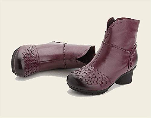 Cortas Vintage De Cabeza púrpura S Eu Redonda Deed Eu Cálida Zapatos Mujer Botas 35 37 Snxqaw5AR