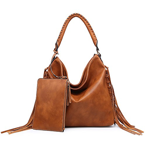 Shomico Womens Shoulder Bag Hobo Purse Crossbody Fringe Handbag for Ladies Spring Summer Brown (Large, Daisy - Leather Vintage Purse