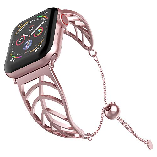 UooMoo Stainless Steel Band Compatible Apple Watch 38mm/40mm, Women Girls Jewelry Metal Strap Bangle Cuff Bracelet with Adjustable Tassels Clasp Compatible Apple Watch Series 1/2/3/4 -Pink Gold