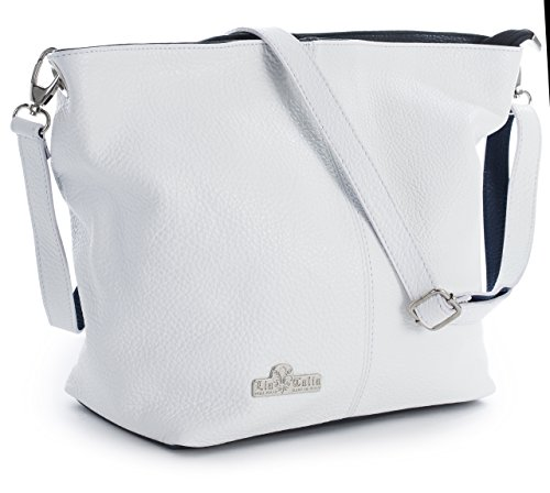 Genuine White Navy with Bag Protective Womens Hobo LiaTalia Medium Trim Shoulder Italian Storage Bag Leather amp; Adal RnO05OZ81W