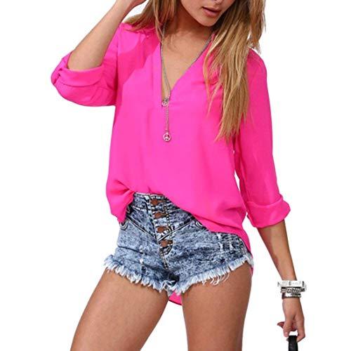 HX fashion V Sciolto Colore Chiffon Puro Nero Profondo Relaxed Lunga Lunghe Casual Estivi Camicetta Primaverile Shirts Donna Blusa Elegante Ragazza Chic Maniche zzwdgqrHx