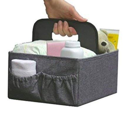FOLDABLE DIAPER & WIPES CADDY -Nursery Foldable Caddy-Portable Diaper Changing Organizer Portable Diaper Caddy-Huge Space for Bottles, Toys & Wipes. Perfect Baby Shower Gift (GRAY)