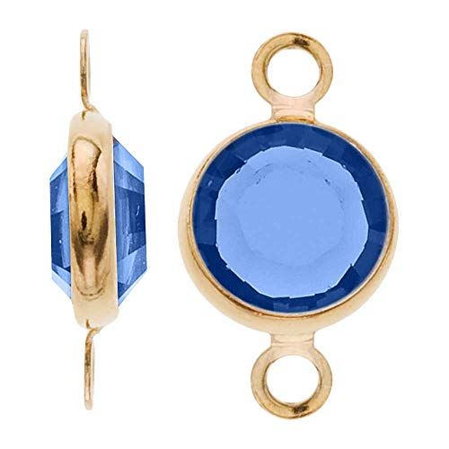 - Swarovski Crystal, Gold Plated Channel Connector Link, 7mm, 4 Pieces, Sapphire