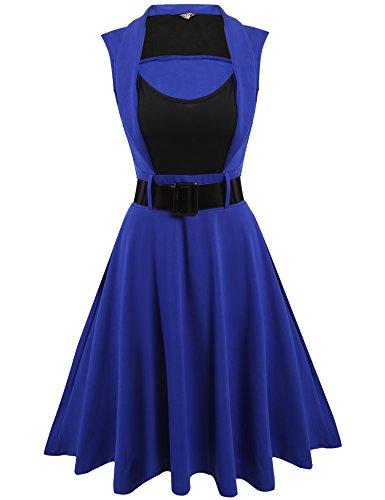 ACEVOG Women's Rockabilly Vintage 1940's Sleeveless Bleted Evening Dress (Period Dress)