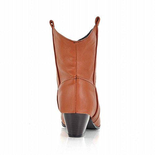 Show Shine Womens Fashion Ankle-High Leather Block-Heel Western Boots Yellow b64Zh74QeB