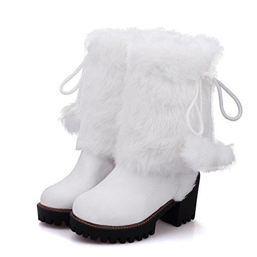 RAZAMAZA On Pull White Lined Warm Women Boots rcqXxwq7v8