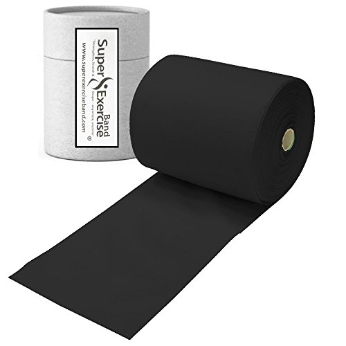 Super Exercise Band Black X Heavy Strength Latex Free Resistance Band material in 8 Yard (25 ft.) Bulk Rolls. Home Gym Training For Physical Therapy, Pilates, Stretching, Yoga, and Strength (Latex Free Flat Band)