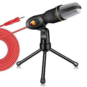 Tonor Micrófono Condensador Profesional para Ordenador/portátil (3.5 mm, Soporte de sobremesa), Negro
