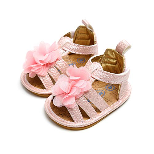 (Infant Baby Girls Summer Sandals Anti-Slip Rubber Sole Flower Toddler First Walkers Shoes(6-12 Months M US Infant,Pink))