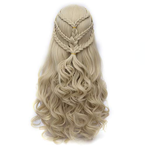 Max Beauty Long Curly Wave Cosplay Wig with Braid for Mother of Dragons for Halloween Wigs for Game of Thrones Season 5-8]()