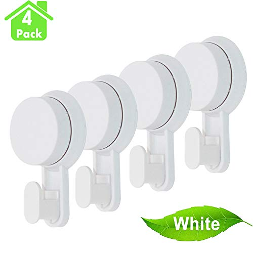 (IELECMG Suction Cup Hooks, Wall Vacuum Hook Powerful Kitchen Hangers 4 Pack Removable Wall Hook Vacuum Suction Cups Bathroom Hooks Hangers for Towel Cloth Key Loofah Bag - White)
