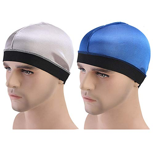 ASHILISIA 2Pack Unisex Spandex Dome Style Wig Cap Mesh Hair Stretchable Silky Bottom Cap Stay On Your Head (Silver+Blue)