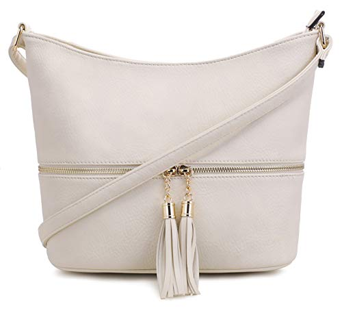 (DELUXITY Medium Size Hobo Crossbody Bag with Tassel/Zipper Accent(Ivory))