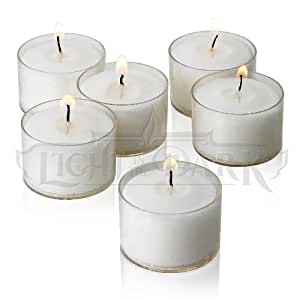 Set of 36 White Tealight Candles with Clear Cup Burn 8 Hour, Unscented , in a Box