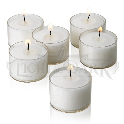 Buy white tea light candles with clear cups