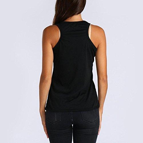 Sexyville Tops Noir Et Shirt Femmes T Tank Dbardeur Gilet Sans Chemises Casual Sport Manche Impression rU6rzn