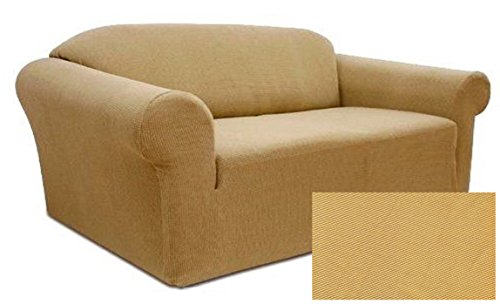 Orly'sDream Stretch Form Fit Thick Polyester/Spandex Jersey Fabric Sofa Slipcover set, 2 Pc set includes Sofa And Love Seat Covers, Solid Color. (Yellow Gold/Beige) Review