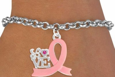 Pink Ribbon Toggle Bracelet (