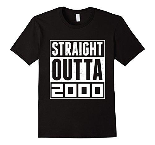 Mens STRAIGHT OUTTA 2000 T Shirts 17th Birthday Shirt Gift XL Black