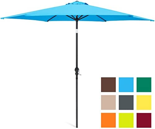 Best Choice Products 10ft Outdoor Steel Market Patio Umbrella w Crank, Tilt Push Button, 6 Ribs – Blue