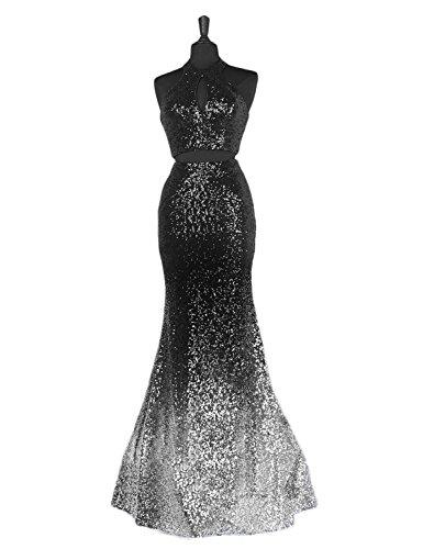 fe8d0a4bae8 Home Brands DarlingU DarlingU Women s Mermaid Sequins Halter Prom Evening  Party Gowns Two Pieces Keyhole Design Black  Silver 2.   