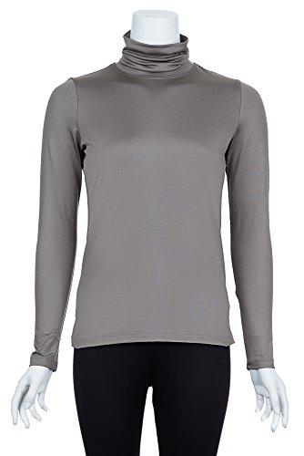 A'NUE LIGNE A'nue Miami Women's Classic Turtleneck, Long Sleeve Basic Shirt, Petite, Slate