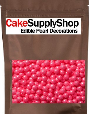 Shimmer Bright Pink Edible Candy Pearls 4 oz