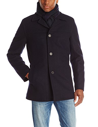 Tommy Hilfiger Men's Wool Melton Walking Coat with Detachable Scarf, Navy - Dark Scarf, Large