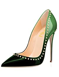 FSJ Pointed Toe Pumps Gradient Colored Stiletto Heels with Rivets Size 4-15
