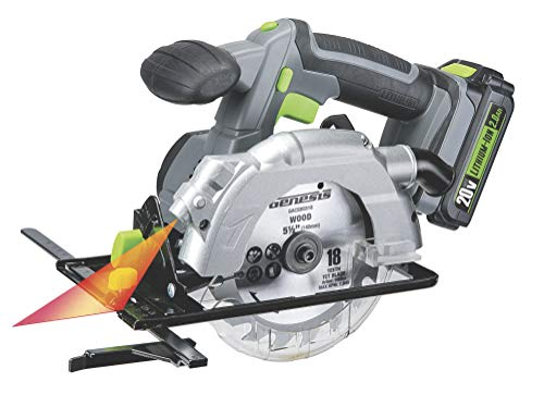 Genesis GLCS2055A 20V Cordless Lithium-Ion Battery-Powered 5 1 2 Circular Saw with Built-In Laser Guide, Electric Brake, 18T Carbide-Tipped Blade, Rip Guide, Battery, Charger, and Blade Wrench