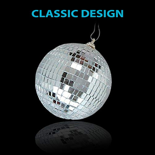 4'' Mirror Disco Lights - Silver Hanging Ball - Perfect for Home Decorations, Stage Props, Game Accessories, School Festivals, Party Favor and Supplies by Kidsco (Image #5)