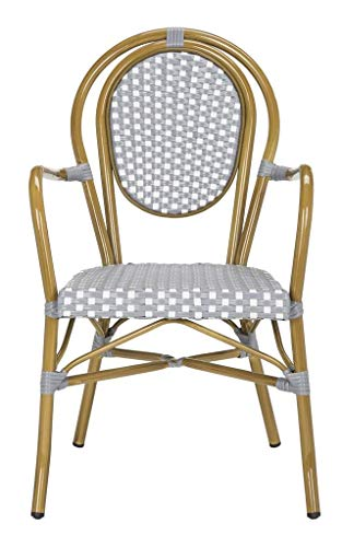 Safavieh PAT4014B-SET2 Outdoor Collection Rosen Grey and White French Bistro Stacking Arm Chair