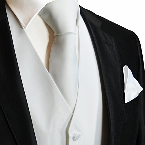Brand Q 3pc Men's Dress Vest NeckTie Pocket Square Set for Suit or Tuxedo (M (Chest 42), White) (Piece Tuxedo Five Set)