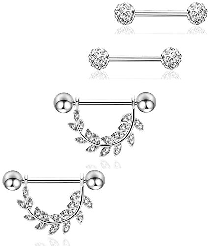 REVOLIA 14G 4Pcs Stainless Steel Nipplerings Piercing Barbell Piercing Body Jewelry Leaf S (Shaped Barbell Body Jewelry)