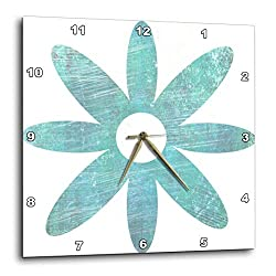 3dRose DPP_51413_1 Teal Blue Grunge Flower Floral Art Wall Clock, 10 by 10