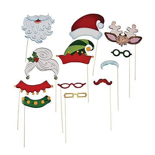 Fun Express Christmas Santa & Elf Stick Costume Photo Booth Props - 12 pcs