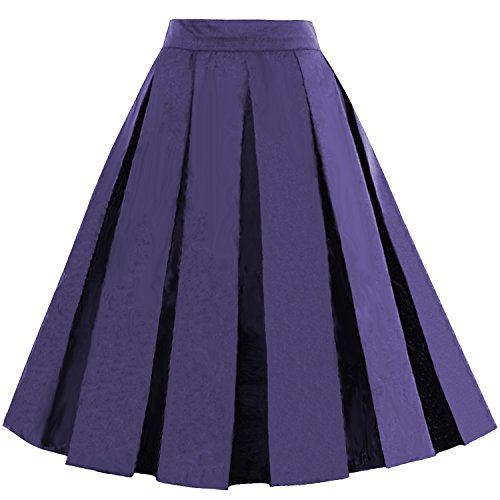 - Dressever Women's Vintage A-line Printed Pleated Flared Midi Skirts Navy Blue Small