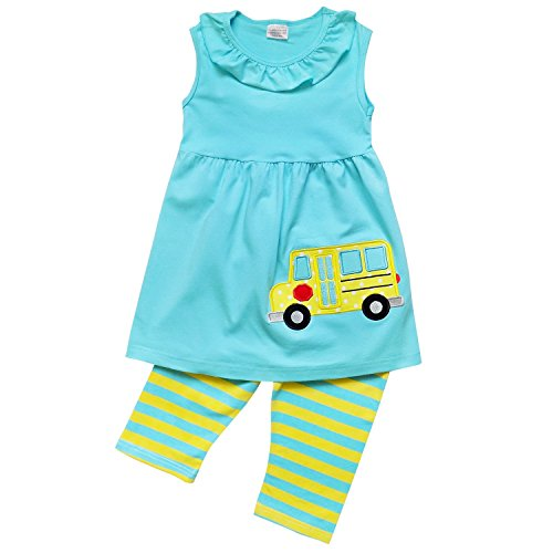 So Sydney Toddler & Girls Apple Back to School Collection Skirt Set, Dress Or Outfit (XXXL (8), Bus Blue & Yellow Stripe) -