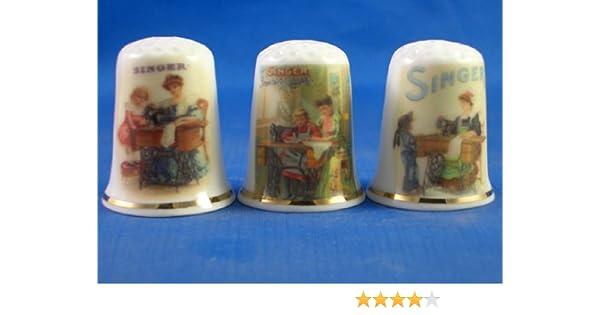 Porcelana China cobrable dedales de conjunto de tres de las señoras de coser Singer: Amazon.es: Hogar