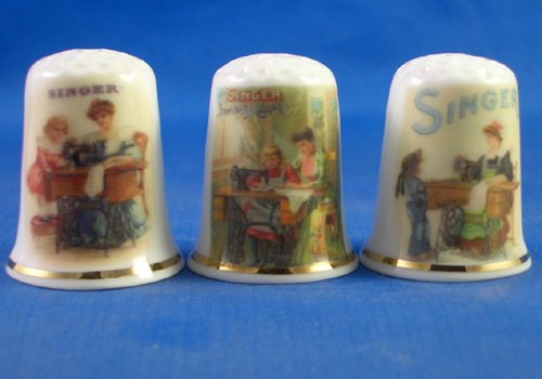 Porcelain China Collectable Thimbles - Set of Three Singer Sewing Ladies