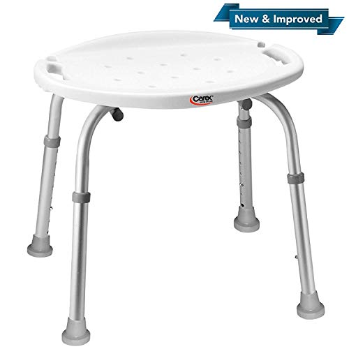 (Carex Adjustable Bath and Shower Seat - Shower Stool - Aluminum Bath Seat - Shower Chair with)