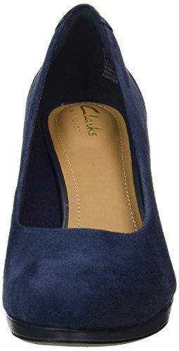 Clarks Chorus Chic, Zapatos de Tacón Mujer Azul (Navy Suede)