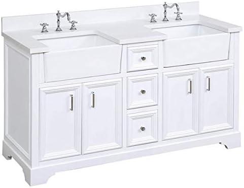 Amazon Com Zelda 60 Inch Double Bathroom Vanity Quartz White Includes White Cabinet With Stunning Quartz Countertop And White Ceramic Farmhouse Apron Sinks Kitchen Dining