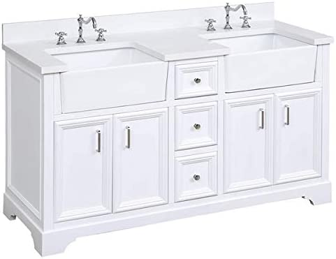 Zelda 60-inch Double Bathroom Vanity Quartz White Includes White Cabinet with Stunning Quartz Countertop and White Ceramic Farmhouse Apron Sinks