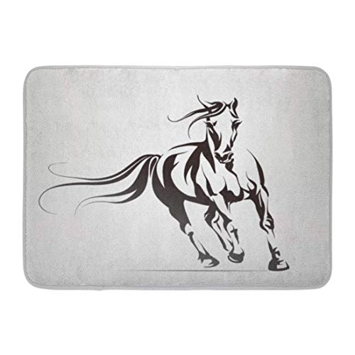 - YGUII Doormats Bath Rugs Mustang Silhouette of Running Horse Head Pony Riding Tattoo Race Bathroom Decor Rug 16X23.6in (40x60cm)