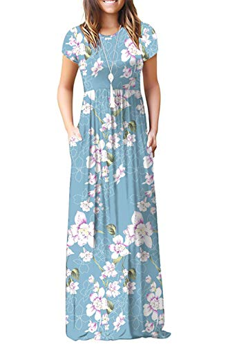 (DEARCASE Women's Round Neck Short Sleeves A-line Casual Dress with Pocket Flower Light Blue XX-Large)