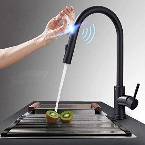 キッチン金具ブラックタッチセンシティブ誘導タップミキサー蛇口シングルデュアルコンセントWassermodi