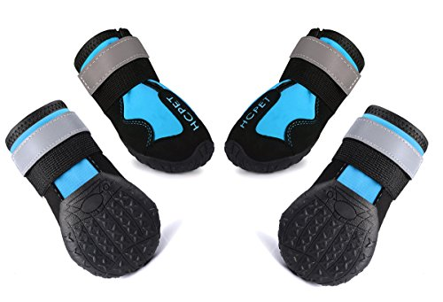 AOUPOU Dog Boots Waterproof Dog Shoes With Reflective Velcro and Rugged Anti-Slip Sole | 4 Colors and 7 Sizes(size5,Blue) by AOUPOU